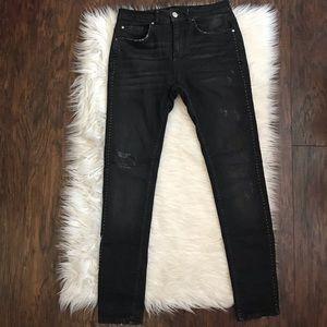 Zara Black Distressed Studded Skinny Jeans